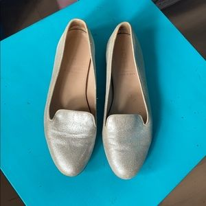 J Crew Genuine Leather Metallic Shimmer Flats